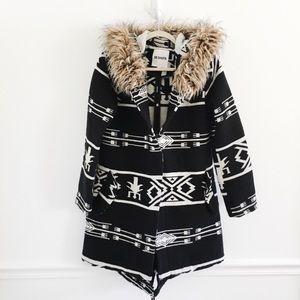 BB Dakota Aztec tribal print fur wool coat jacket